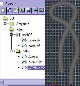 "'Tube Mesh'´s 'Construction Curves'  Reconnected to ""20 Point Path"""